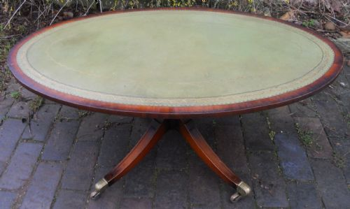 Large Oval Leather Top Pedestal Mahogany Coffee Table